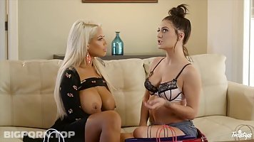 Two babes, Bridgette B and Jojo Kiss are having lots of fun, while in the living room